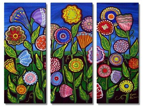 All My Walls 'Fun Whimsical Flowers' by Renie Britenbucher 3 Piece Painting Print Plaque Set | Wayfair
