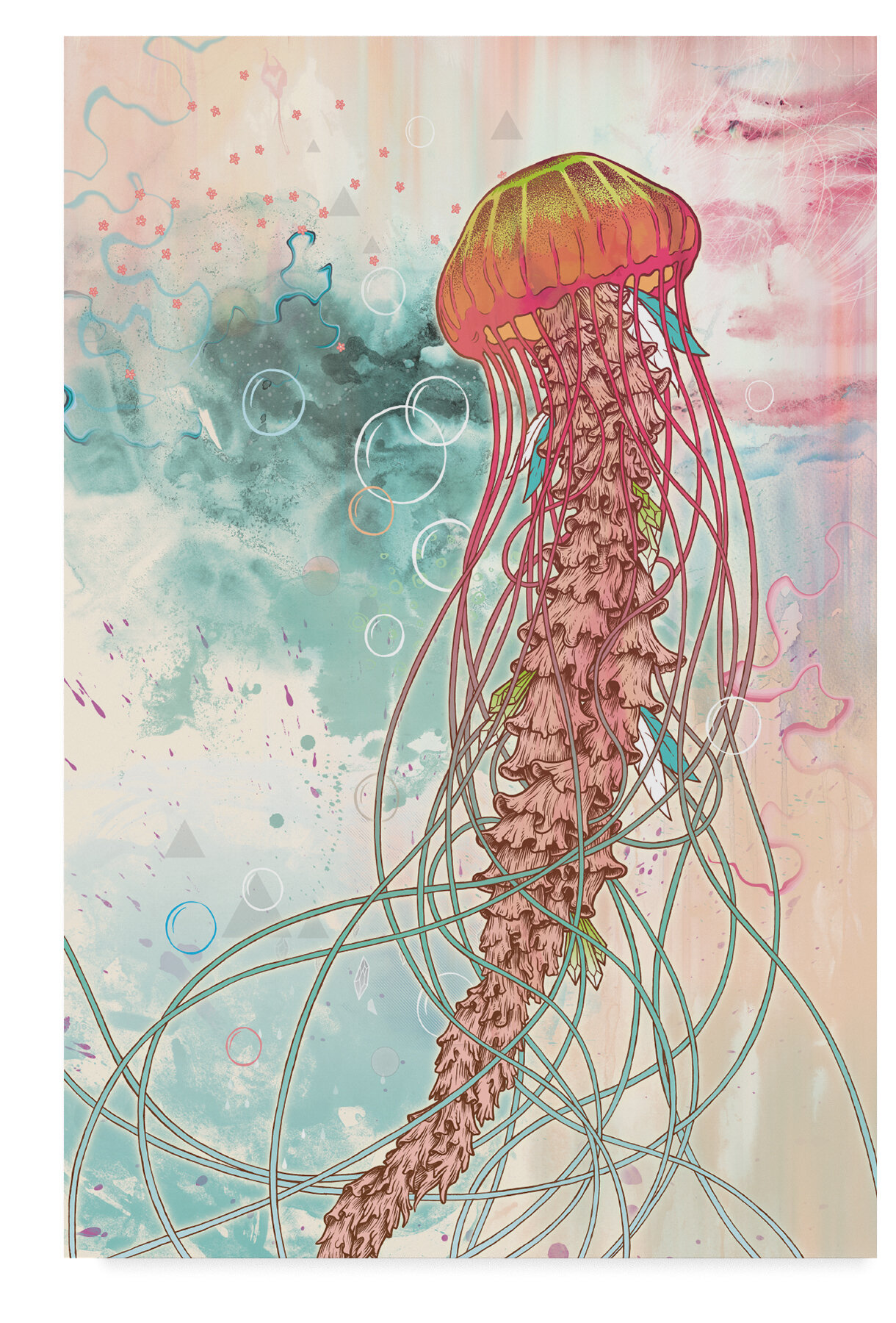 Ebern Designs Jellyfish Red Acrylic Painting Print On Wrapped Canvas Wayfair