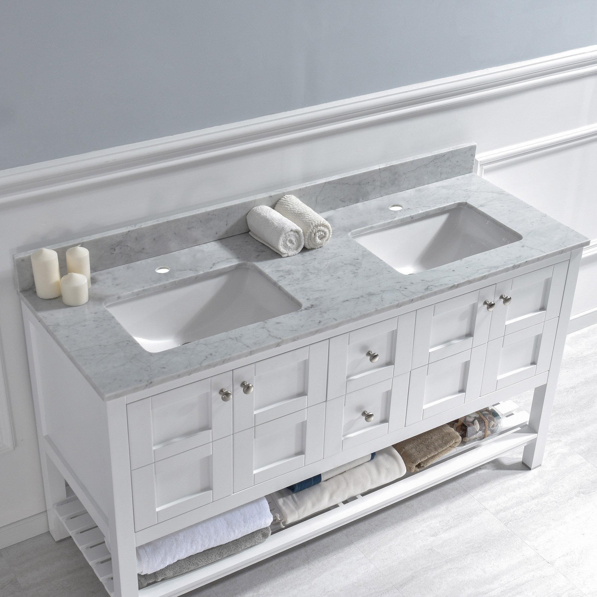 Woodbridge 61 Double Bathroom Vanity Top In Carra White With Sink Reviews Wayfair