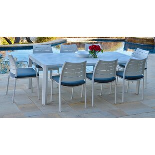 Ebern Designs Bemelle 9 Piece Sunbrella Dining Set with Cushions