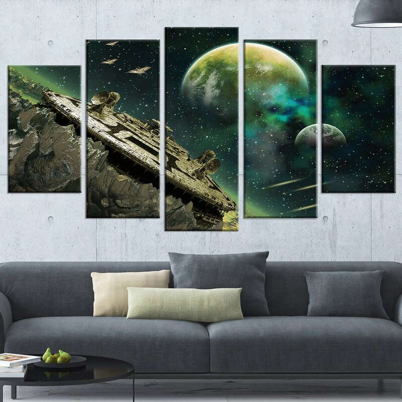 'Alien Planet' 5 Piece Graphic Art on Wrapped Canvas Set