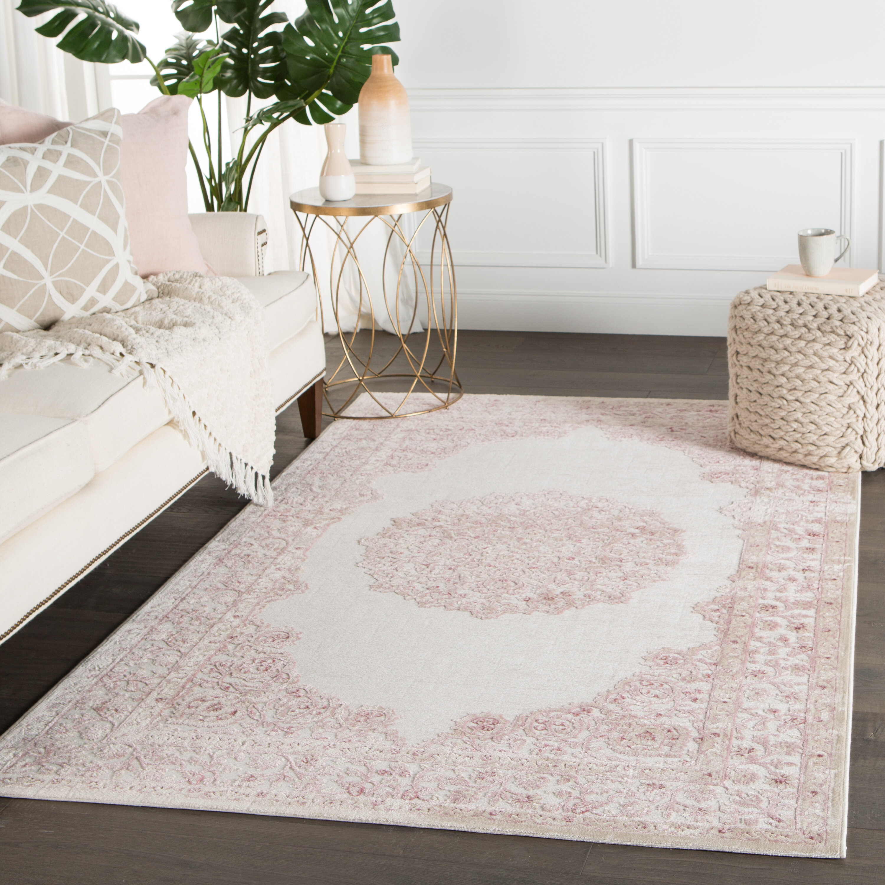 Emmie Pink White Area Rug Reviews