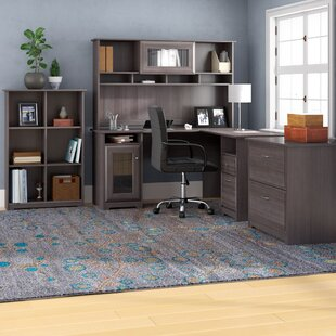 Hillsdale L Shape Desk With Hutch, 6 Cube Bookcase And Lateral File