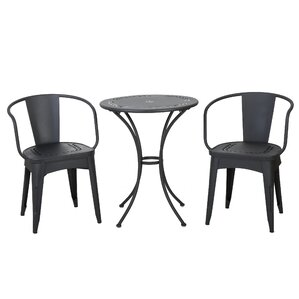 Triplehorn Indoor 3 Piece Metal Dining Set by La..