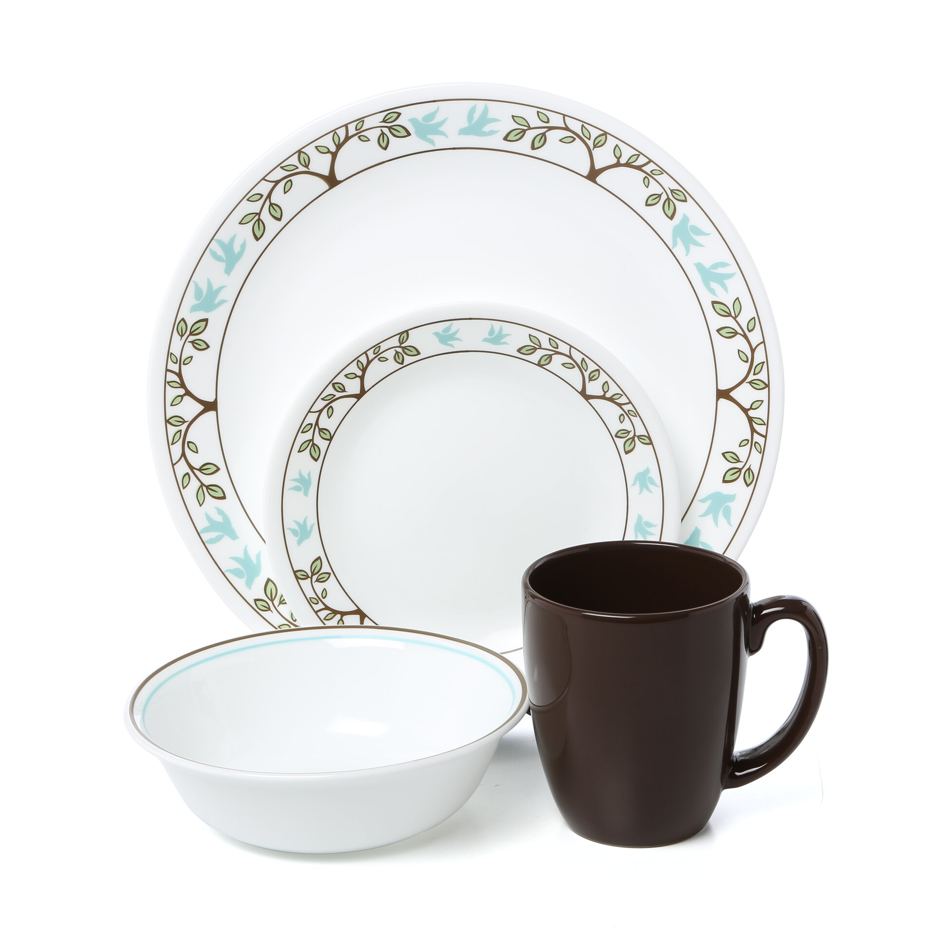Corelle Livingware Tree Bird 16 Piece Dinnerware Set Service for 4 \u0026 Reviews | Wayfair  sc 1 st  Wayfair : bird dinnerware - pezcame.com