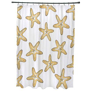 Oakley Soft Starfish Geometric Print Shower Curtain