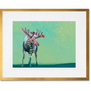 'Moose in the Snow' by Cathy Walters Framed Painting Print