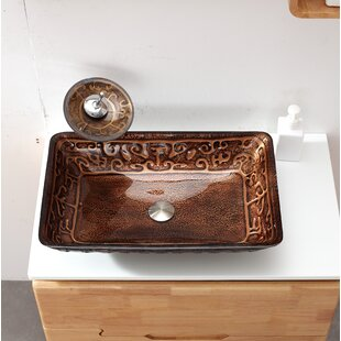 Read Reviews Glass Rectangular Vessel Bathroom Sink with Faucet By Arsumo