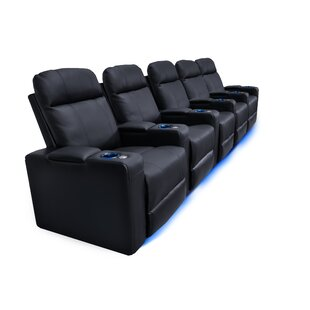 Latitude Run Leather Home Theater Row Seating (Row of 5)