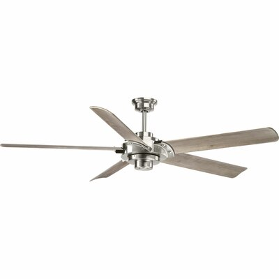 17 Stories 68 inch Thainara 5 Blade Ceiling Fan with Remote Finish Brushed Nickel