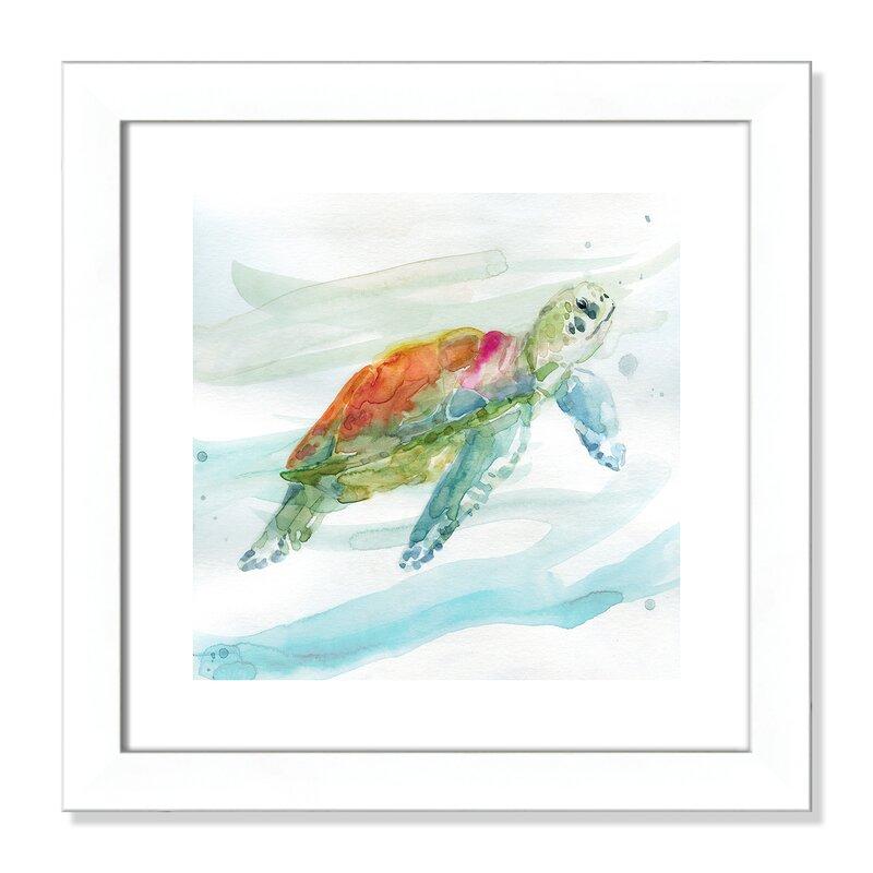 Highland Dunes Turtle Tropics I Framed Watercolor Painting Print Wayfair