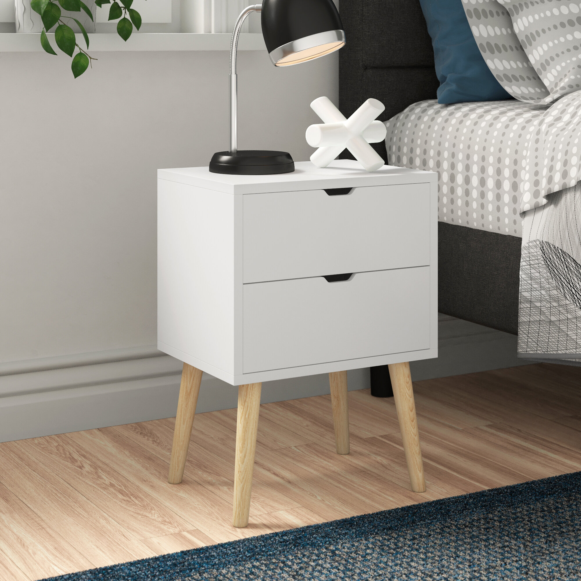 Picture of: Zipcode Design Lalani 2 Drawer Bedside Table Reviews