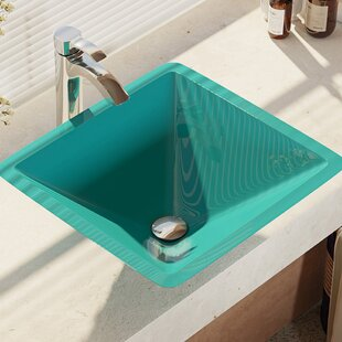 Best Reviews Glass Square Vessel Bathroom Sink with Faucet ByRené By Elkay