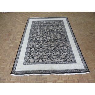 Inexpensive One-of-a-Kind Beane Kashan Hand-Knotted 8'1 x 11'5 Wool Ivory/Black Area Rug By Isabelline