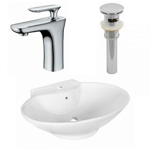 Comparison Above Counter Ceramic Oval Vessel Bathroom Sink with Faucet and Overflow ByRoyal Purple Bath Kitchen