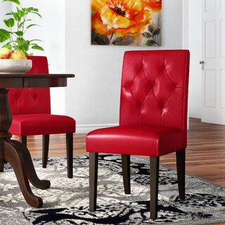Allegany Bonded Leather Upholstered Dining Chair (Set of 2) by Alcott Hill SKU:BD126156 Details