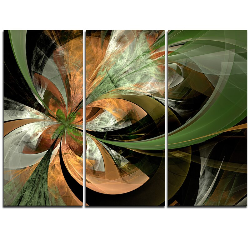 Designart Orange And Green Large Fractal Flower 3 Piece Graphic Art On Wrapped Canvas Set Wayfair