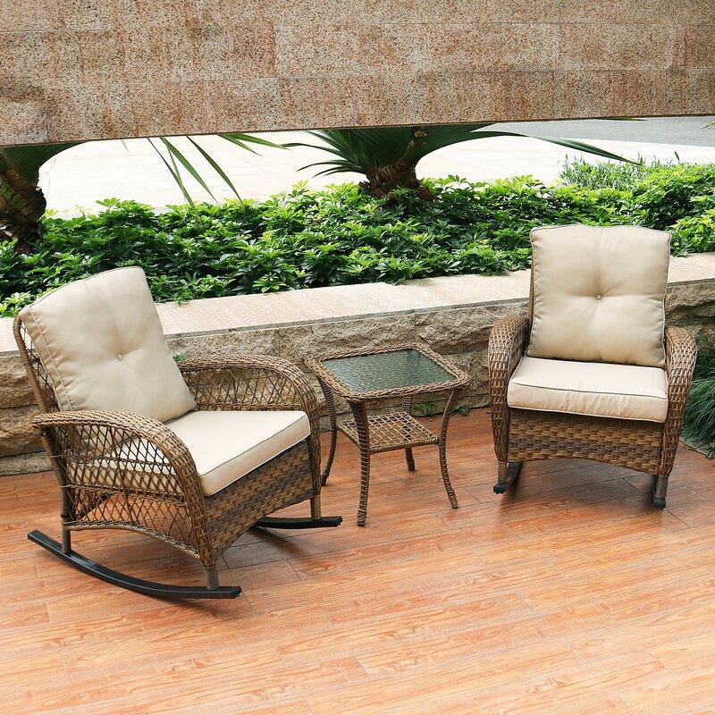 August Grove Kaeden Rocking Conversation 3 Piece Seating Group Set With Cushions Reviews Wayfair