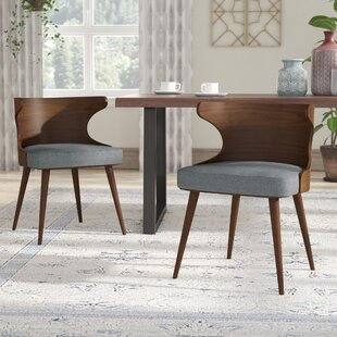Langley Street Lilyanna Mid-Century Fabric Walnut Upholstered Dining Chair (Set of 2)