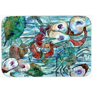 Watery Shrimp, Crabs and Oysters Kitchen/Bath Mat