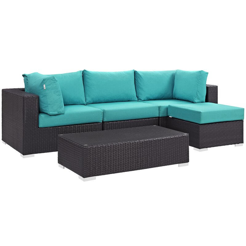 Sol 72 Outdoor  Brentwood 5 Piece Rattan Sectional Set with Cushions Fabric: Turquoise