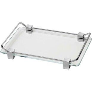 Latitude Run Manna Box Metal Countertop Glass Bathroom Accessory Tray
