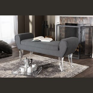 Kaplan Modern and Contemporary Linen Upholstered Luxe Bench by Mercer41