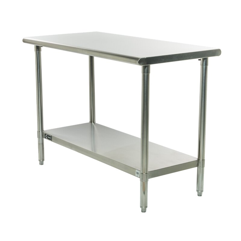 "48""W Adjustable Height Stainless Steel Top Workbench"