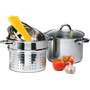 4 Piece 8 Qt. Pasta Cooker Set with Lid