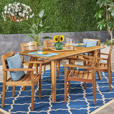 Britt 7 Piece Teak Dining Set by Millwood Pines 2020 Coupon