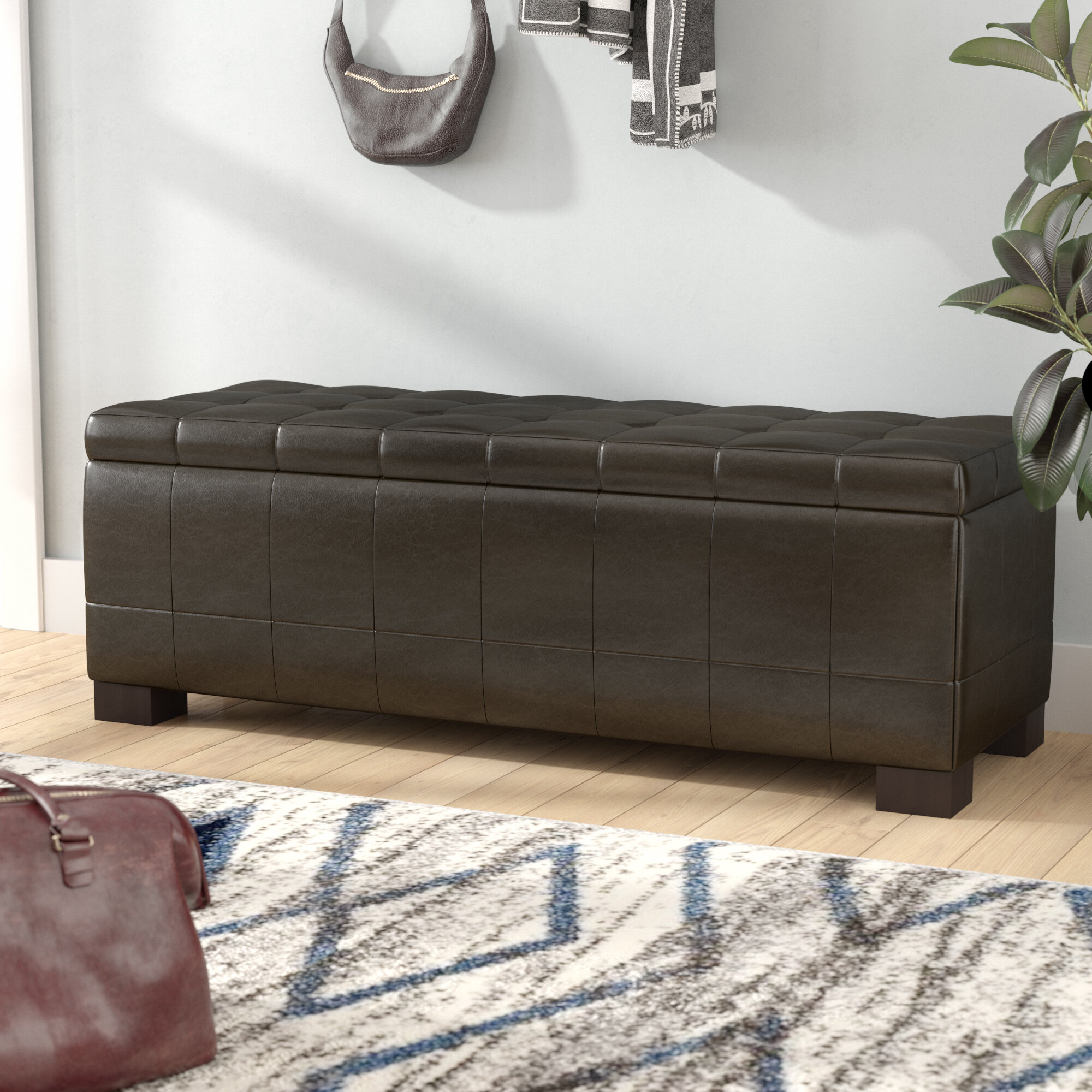 Brayden Studio Maiden Upholstered Flip Top Storage Bench Reviews Wayfair
