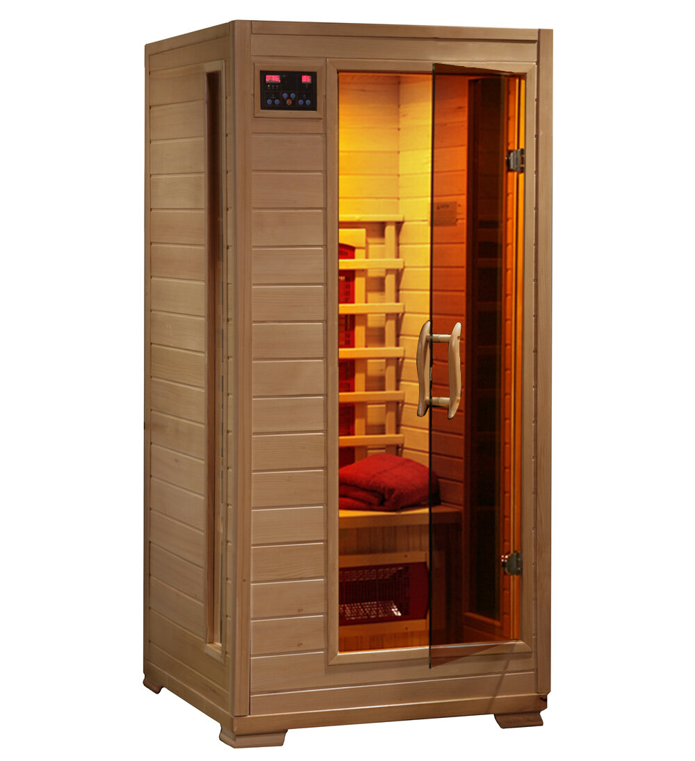 radiant saunas luxury series 1 person far infrared sauna reviews wayfair. Black Bedroom Furniture Sets. Home Design Ideas