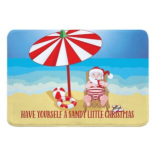 Varela Beach Santa Christmas Bath Rug