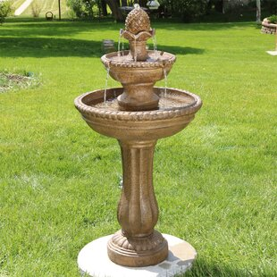 Astoria Grand Duron Fiberglass/Resin Roman Pineapple 2-Tier Garden Water Fountain