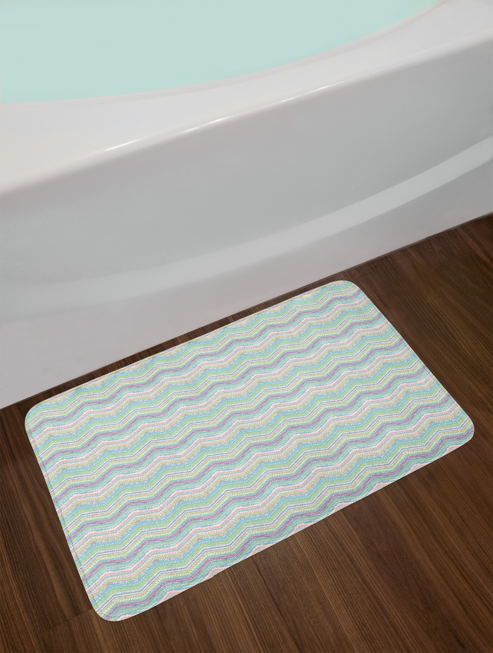 8270453cf7b8 Ambesonne Pastel Bath Mat by, Hand Painted Style Tribal Design with Zigzag  Triangle Motifs Ethnic Stripe Line, Plush Bathroom Decor Mat with Non Slip  ...