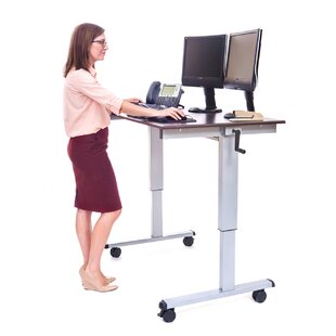 Crank Height Adjustable Standing Desk Converter by Offex Today Only Sale