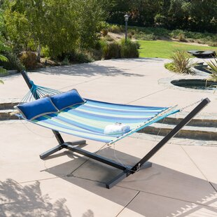 Danby Striped Outdoor Hammock with Wood Stand by Breakwater Bay
