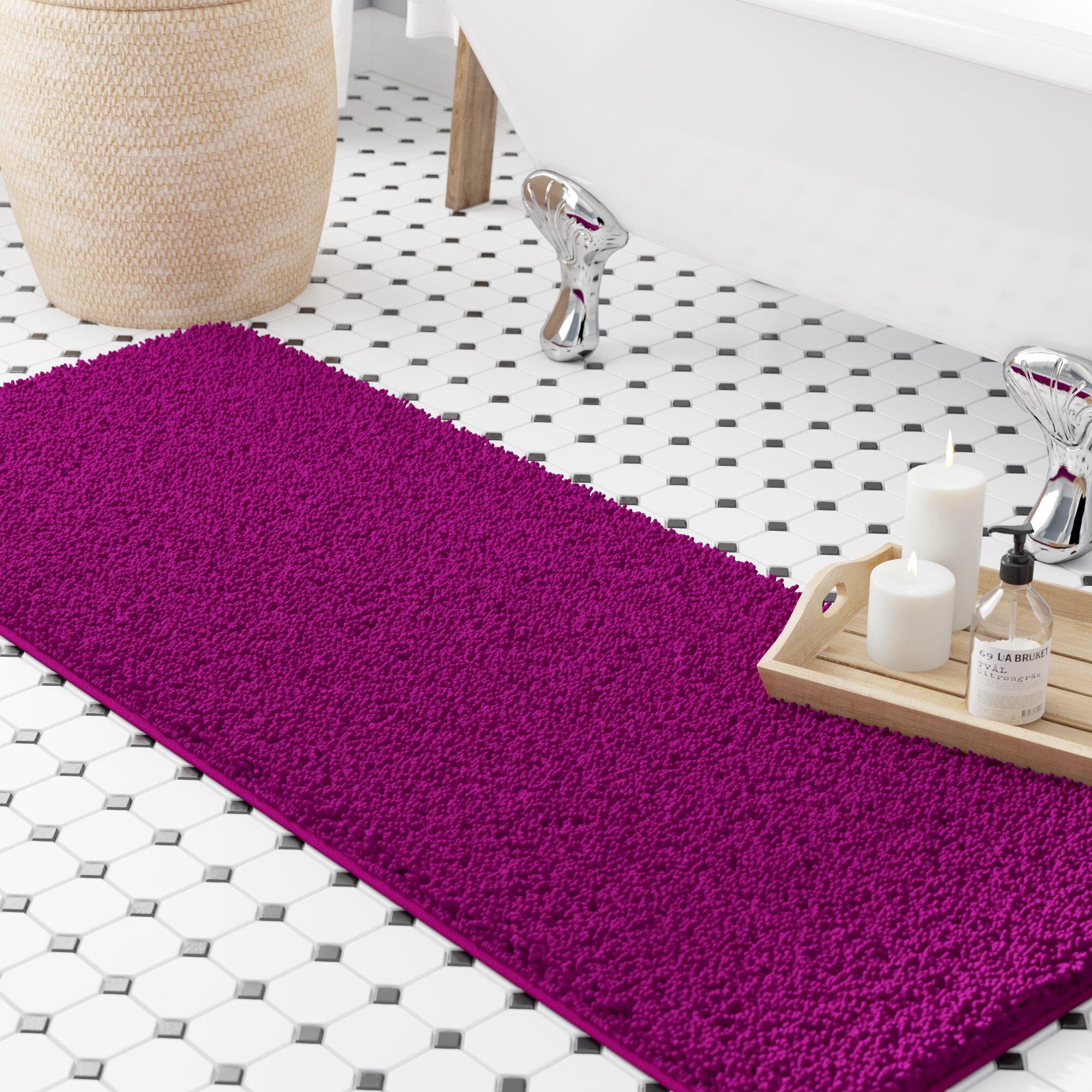 Shag Rectangular Polyester Non-Slip Solid Bath Rug