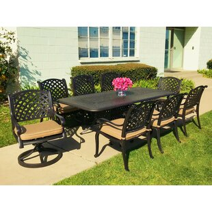 Beadle 9 Piece Sunbrella Dining Set with Cushions by Darby Home Co