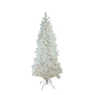 19a260f2749e Pre-Lit Flocked Slim 6.5' White Pine Artificial Christmas Tree with 300  Clear & White lights