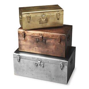 Top Reviews Danita 3 Piece Iron Storage Trunk Set ByGracie Oaks