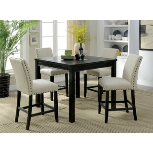 Delvale 5 Piece Counter Height Extendable Dining Set by Alcott Hill No Copoun