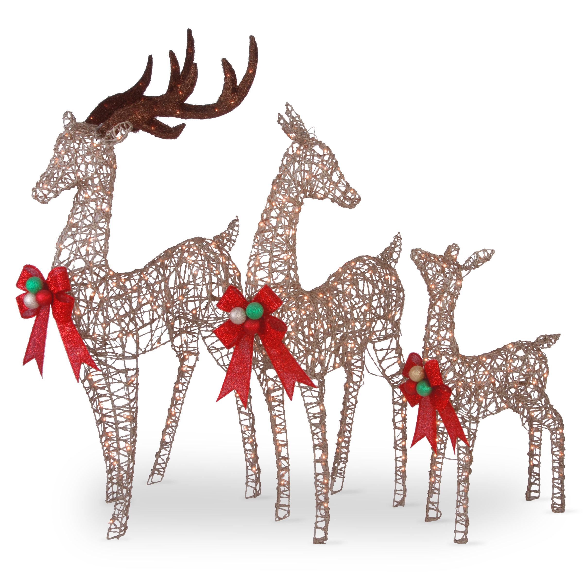 3 Piece Deer Family Assortment Lighted Display Set Reviews Birch Lane