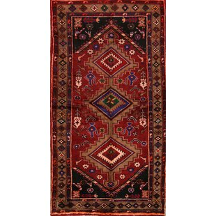Affordable One-of-a-Kind Lollie Traditional Hamedan Persian Hand-Knotted 3'6 x 6'6 Wool Burgundy/Black Area Rug By Isabelline