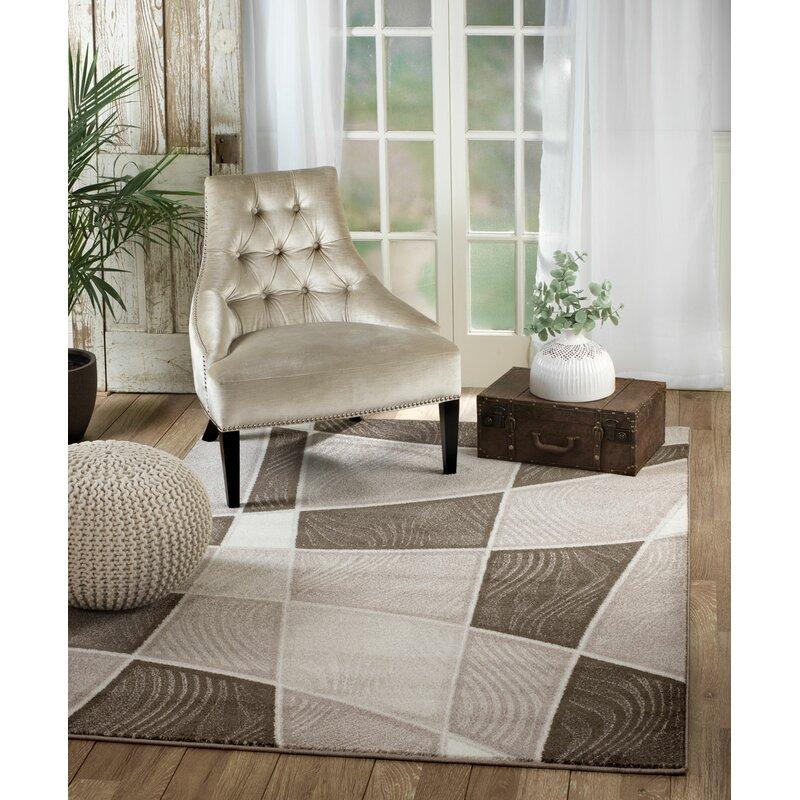 Ebern Designs Anabella Geometric Brow Taupe Area Rug Reviews Wayfair