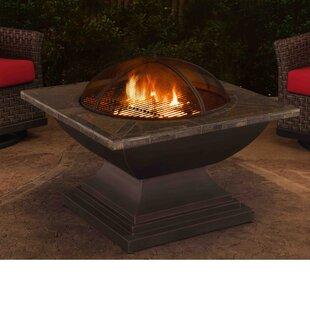 Sunjoy Delaware Steel Wood Burning Fire Pit table