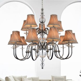 Curves 15-Light Shaded Chandelier by CWI Lighting