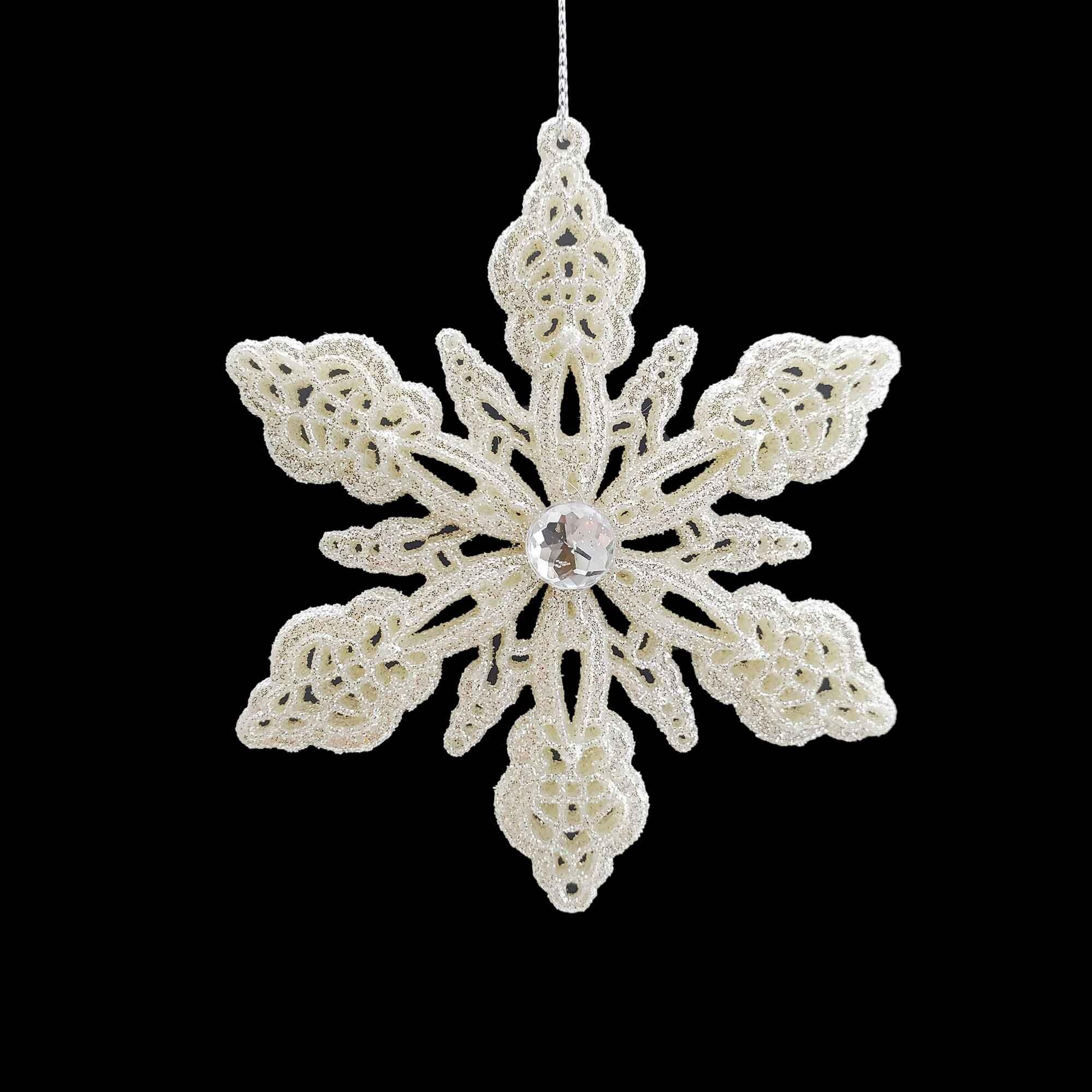The Holiday Aisle Glitter Gem Snowflake Holiday Shaped Ornament Wayfair