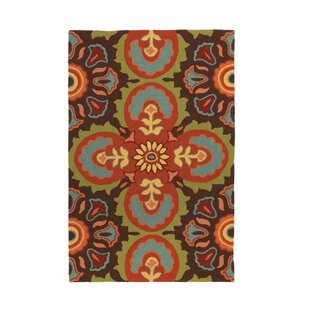 Talavera Tile Hand-Hooked Espresso Indoor/Outdoor Area Rug