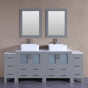 Katherine 84 Double Bathroom Vanity Set with Mirror by Bosconi